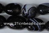 CAG3065 15.5 inches 15*20mm nuggets black line agate beads