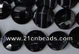CAG3074 15.5 inches 16mm faceted coin black line agate beads