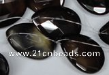 CAG3110 Top-drilled 18*25mm faceted flat teardrop black line agate beads