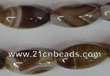 CAG3126 15.5 inches 12*25mm rice brown line agate beads