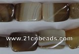 CAG3145 15.5 inches 13*18mm twisted rectangle brown line agate beads