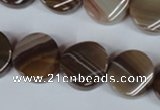 CAG3152 15.5 inches 16mm twisted coin brown line agate beads