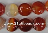 CAG3183 15.5 inches 14mm flat round red line agate beads