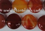 CAG3185 15.5 inches 18mm flat round red line agate beads