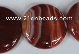 CAG3188 15.5 inches 30mm flat round red line agate beads