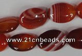 CAG3194 15.5 inches 13*18mm oval red line agate beads