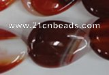 CAG3217 15.5 inches 22*30mm flat teardrop red line agate beads