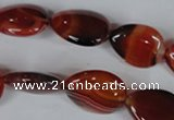 CAG3223 15.5 inches 13*18mm flat teardrop red line agate beads