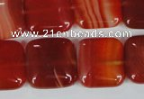 CAG3244 15.5 inches 18*18mm square red line agate beads