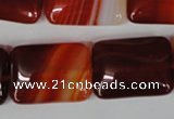 CAG3256 15.5 inches 18*25mm rectangle red line agate beads