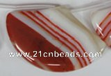 CAG3295 Top-drilled 35*55mm sector red line agate beads