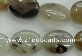 CAG3324 15.5 inches 15*20mm oval natural grey agate beads