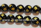 CAG3362 15.5 inches 8mm carved round black agate beads wholesale