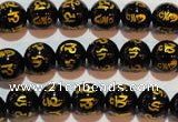CAG3372 15.5 inches 8mm carved round black agate beads wholesale