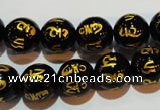 CAG3374 15.5 inches 12mm carved round black agate beads wholesale