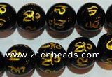 CAG3375 15.5 inches 14mm carved round black agate beads wholesale
