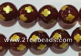 CAG3397 15.5 inches 14mm carved round red agate beads wholesale