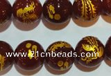 CAG3418 15.5 inches 18mm carved round red agate beads wholesale