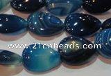 CAG3470 15.5 inches 13*18mm flat teardrop blue line agate beads