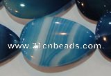 CAG3474 15.5 inches 25*35mm flat teardrop blue line agate beads