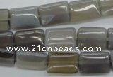 CAG3566 15.5 inches 10*14mm rectangle grey agate gemstone beads