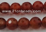 CAG3664 15.5 inches 14mm carved round matte red agate beads