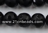 CAG3674 15.5 inches 14mm carved round matte black agate beads