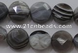 CAG3960 15.5 inches 10mm faceted coin grey botswana agate beads
