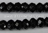CAG3995 15.5 inches 8*12mm faceted rondelle black agate beads