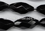 CAG4005 15.5 inches 15*30mm faceted rice black agate beads