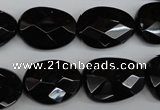 CAG4038 15.5 inches 15*20mm faceted freeform black agate beads