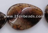 CAG4101 15.5 inches 30*40mm twisted flat teardrop dragon veins agate beads