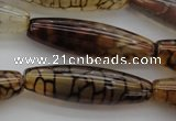 CAG4129 15.5 inches 12*40mm rice dragon veins agate beads