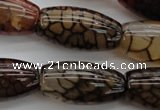 CAG4130 15.5 inches 15*30mm rice dragon veins agate beads
