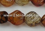 CAG4151 15.5 inches 10*14mm twisted rice dragon veins agate beads