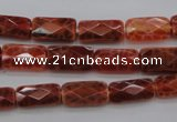 CAG4255 15.5 inches 7*14mm faceted square natural fire agate beads