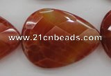 CAG4276 15.5 inches 25*35mm faceted flat teardrop natural fire agate beads