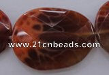 CAG4280 15.5 inches 28*39mm faceted freeform natural fire agate beads