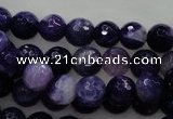 CAG436 15.5 inches 10mm faceted round dark purple agate beads