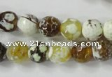 CAG4523 15.5 inches 10mm faceted round fire crackle agate beads