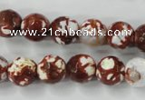 CAG4527 15.5 inches 10mm faceted round fire crackle agate beads