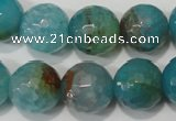 CAG4571 15.5 inches 16mm faceted round fire crackle agate beads