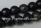CAG4612 15.5 inches 6mm faceted round fire crackle agate beads
