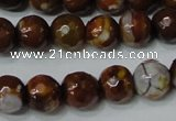 CAG4617 15.5 inches 6mm faceted round fire crackle agate beads