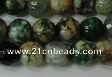 CAG4628 15.5 inches 6mm faceted round fire crackle agate beads