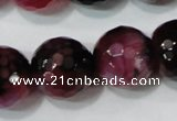 CAG4669 15.5 inches 10mm faceted round fire crackle agate beads