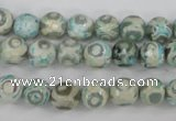 CAG4730 15 inches 8mm faceted round tibetan agate beads wholesale