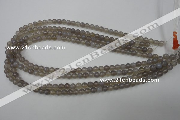 CAG4770 15 inches 6mm round grey agate beads wholesale