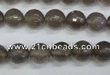 CAG4827 15 inches 10mm faceted round grey agate beads wholesale