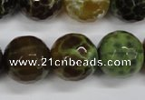 CAG4848 15 inches 20mm faceted round dragon veins agate beads